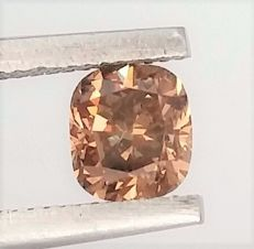 Cushion Cut  - 0.59 carat  - Natural Fancy Intese Brown - VS1 clarity  - Natural Diamond  Comes With AIG Certificate + Laser Inscription