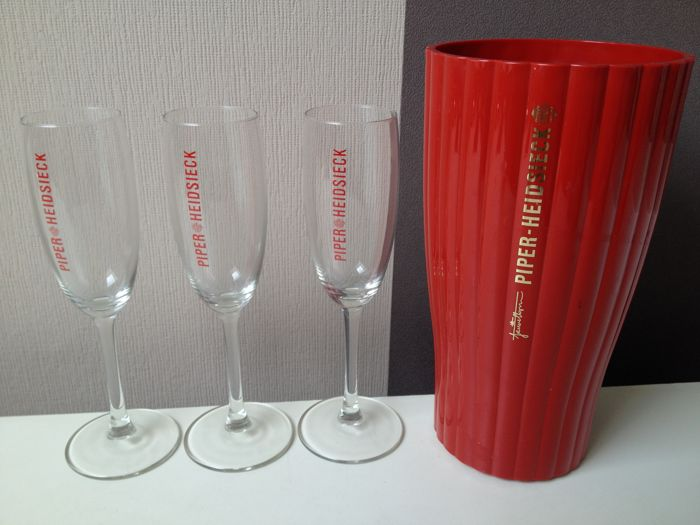 Jaime Hayon for Piper Heidsieck Champagne cooler + 3 Piper Heidsieck Champagne Flutes