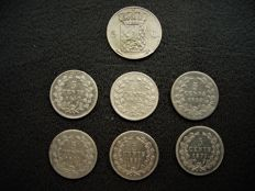 Netherlands  – 5 cent coins 1827U, 1850, 1855, 1859, 1863, 1869 and 1879 Willem I and III – silver