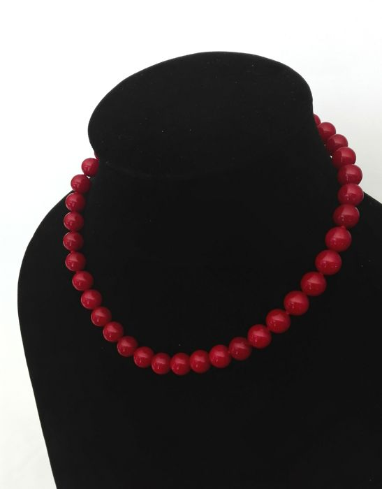 Rubellite Stones Necklace with clasp, Gold 18kt