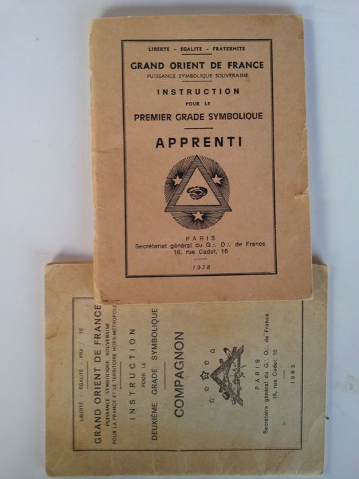 2 booklets of French Freemasonry rules