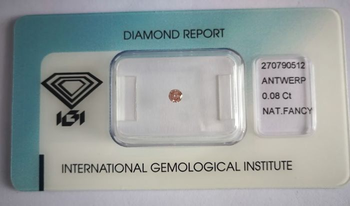 Natural Fancy Intense Brownish Pink Diamond 0.08 ct  with IGI cert *** no minimum price***