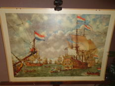 "Beautiful old history school poster with VOC ships by Isings on cardboard with the title ""court martial for the four days battle 1666"""