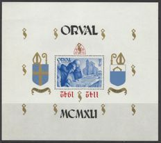 Belgium 1942- Large block Orval with reverse red overprint on perforate block - OBP BL22
