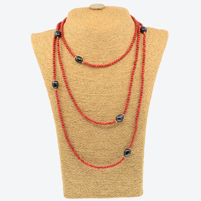 18k/750 yellow gold necklace with coral and baroque cultured pearls - Length: 160 cm