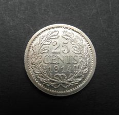 The Netherlands – 25 cents 1914 and 1918, Wilhelmina – silver
