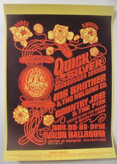 Quicksilver Messenger Service / Janis Joplin Big Brother Family Dog  Poster San Francisco Victor Moscoso 1966