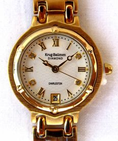 Krug Baümen Charleston 4 Diamond White Dial Gold Strap. Ladies' wristwatch, never worn, 2017.
