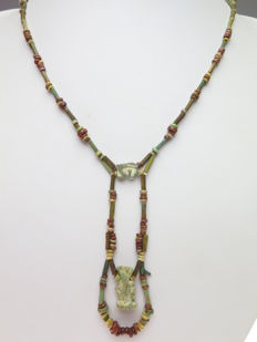 Egyptian necklace of faience beads and Horus eye (Wedjat) and Bes amulet - 46 cm