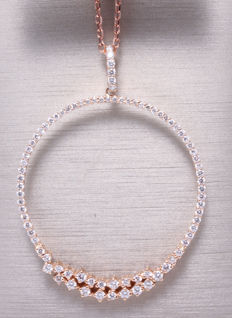 Rose gold pendant set with 84 diamonds, 1.10 ct in total