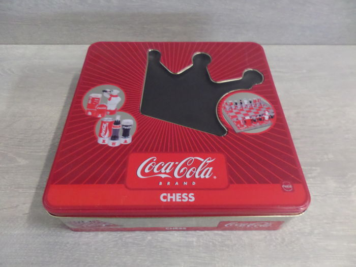 Coca Cola chess set in metal storage box - collector's item