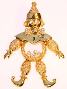 Vintage diamond and gold 'Happy Clown' pendant - 18K yellow gold - Dimensions: approx. 5,80 x 3,84 cm