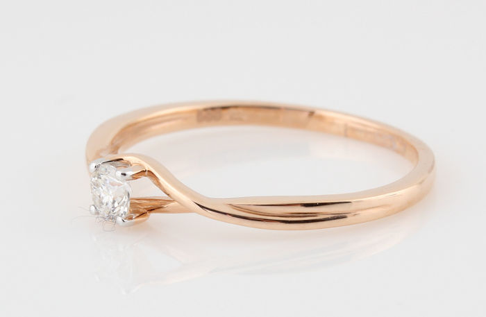 14 kt rose gold diamond solitaire ring 0.16 ct / G-VS2 / 1.50 g / 54 / 'New'