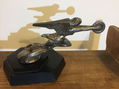 PACKARD RADIATOR FIGURE on wooden base - silver plated