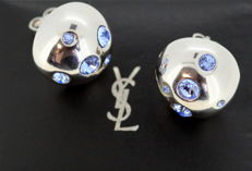 Yves Saint Laurent - Vintage ladies sterling silver stud earrings with tanzanite ( 0.92 ct total ) France Circa.1990's