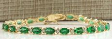 CERTIFIED 8.86 Carat Colombian Emerald 14K Solid Yellow Gold Diamond Bracelet *** Free Shipping *** No Reserve ***