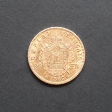 France – 20 Francs 1866 A (Paris) – Napoleon III – Gold