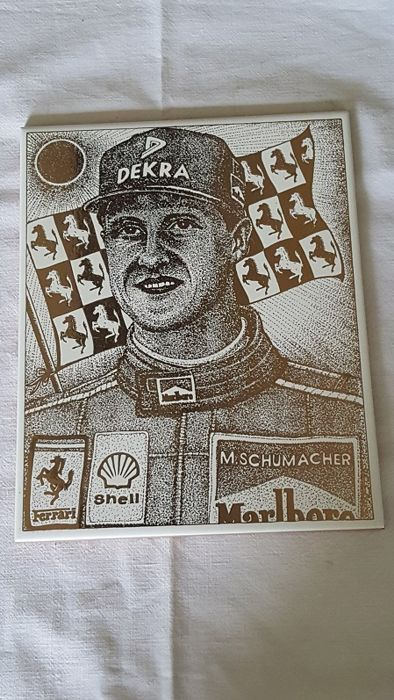 Commemorative enamelled ceramic tile with pure gold engraving by Michael Schumacher - 20 x 25 cm - 2000