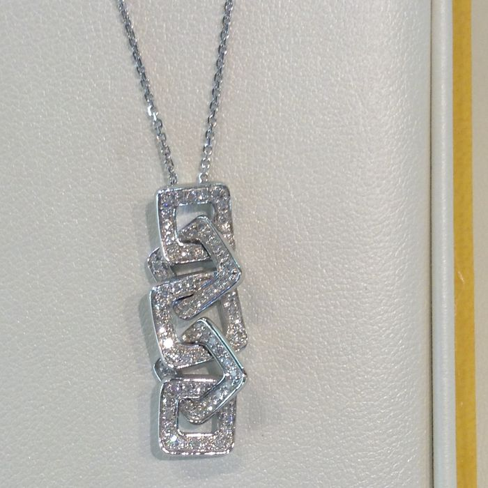 18 kt gold necklace with 0.35 ct diamonds – Chain length: 45 cm