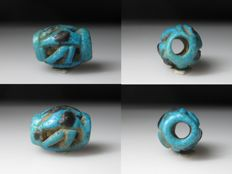 Ancient Egyptian Open-worked Faience Wedjat Eye Bead - ca. 1,6 cm