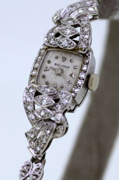 Bulova - Art deco platinum and 14k white gold ladies manual winding wristwatch with diamonds ( 0.63 CT Total ) Circa.1930