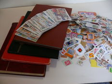 World - collection in five albums, 53 bags and several thousand postal stamps on paper