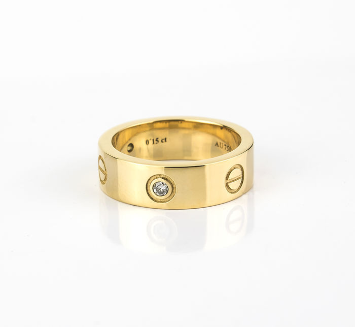 "Cartier – ""Love"" yellow cocktail gold ring, with brilliant cut diamonds – Ring size: 15 (Spain)"