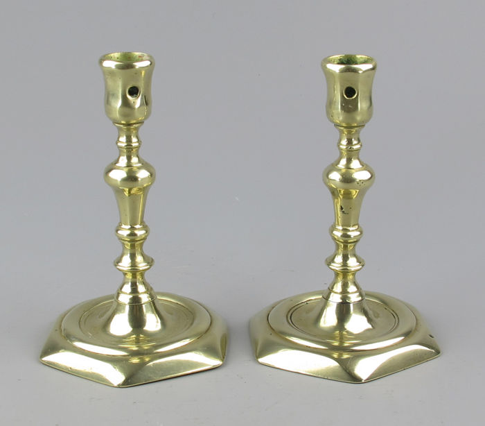 Antique small set brass candlesticks - Louis XV - 18th century.