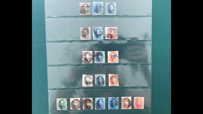 Belgium 1849/1961 – King Leopold I including 6B/8B on ribbed paper – OBP 1/12B
