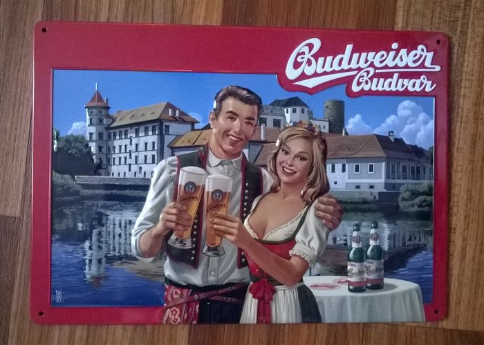 Embossed thin advertising sign German beer Budweiser