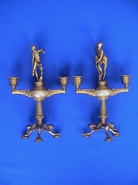 Empire-style gilded bronze figurative candelabra set - Venus and Adonis - 20th century