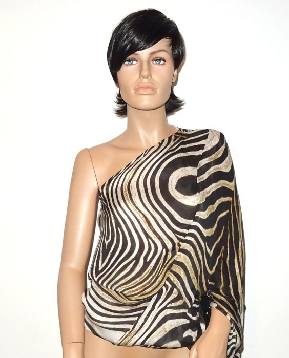 Cavalli – In tiger print! Unique Cavalli tunic or blouse, pure silk, no reserve price