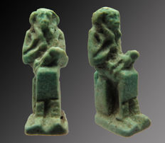 Egyptian faience amulet of Isis with Horus on her lap - 19 mm