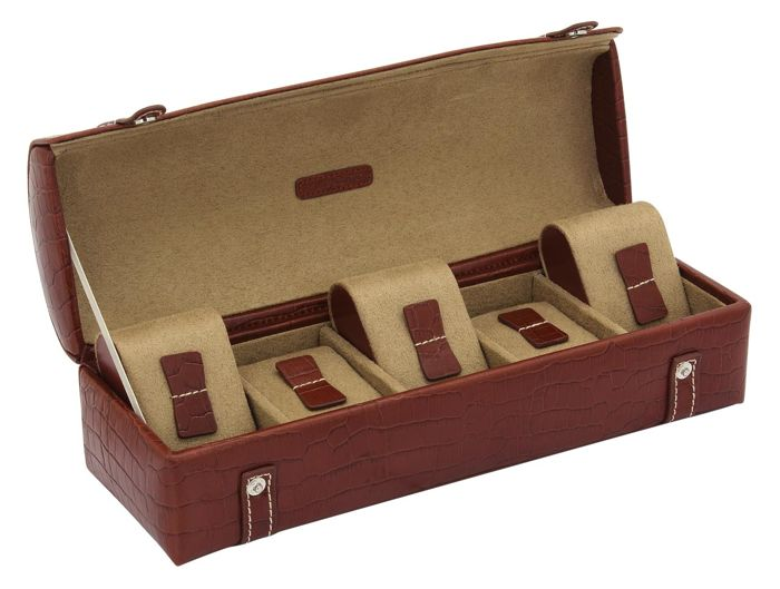 Luxury watches chest classic tobacco / cognac brown - genuine leather - for 5 watches