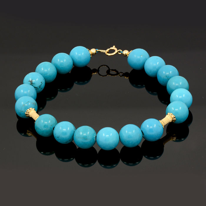 18k / 750 yellow gold bracelet with turquoise - Total length 21 cm. = 18 cm. useful length (inside circumference size)