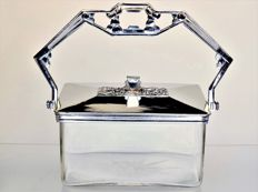 Confectionery jar - glass holder with chrome mounting - Art Deco