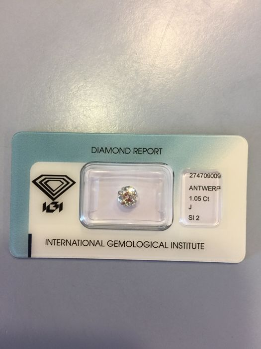 1.05 ct briljant geslepen diamant (Old European Cut) J - SI2
