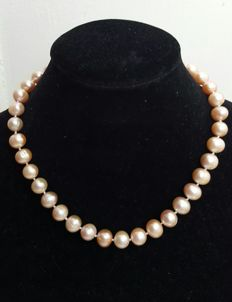 Pink freshwater cultured pearl necklace with 925 silver – Length: 47 cm