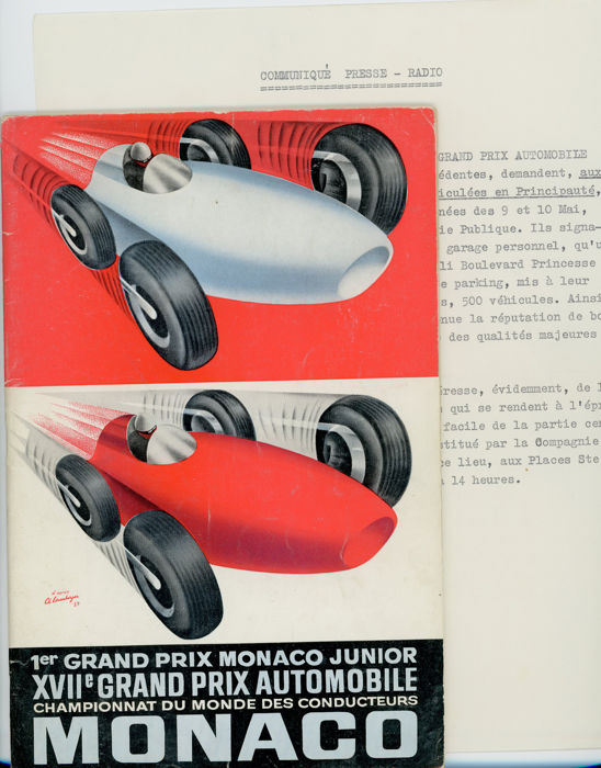 1959 Monaco Grand Prix Programme Phil Hill Jean Behra Tony Brooks Ferrari.
