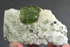New Find Gemmy Lustrous Terminated Diopside Crystal On Calcite Matrix - 95*50*45 - 216gm