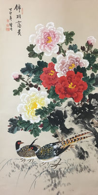 Hand-painted scroll of peony and birds - China - late 20th century