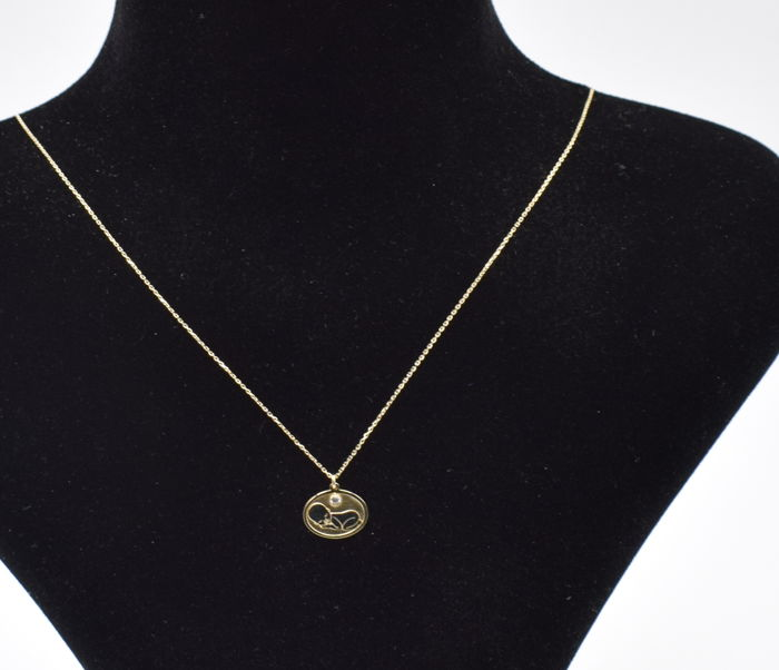 14k rose  and white gold  necklace baby     pendant  - 45 cm