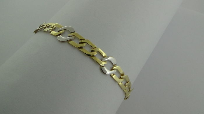 14 kt Gold Bi-colour Bracelet – Length: 19 cm – Weight: 3.96 grams