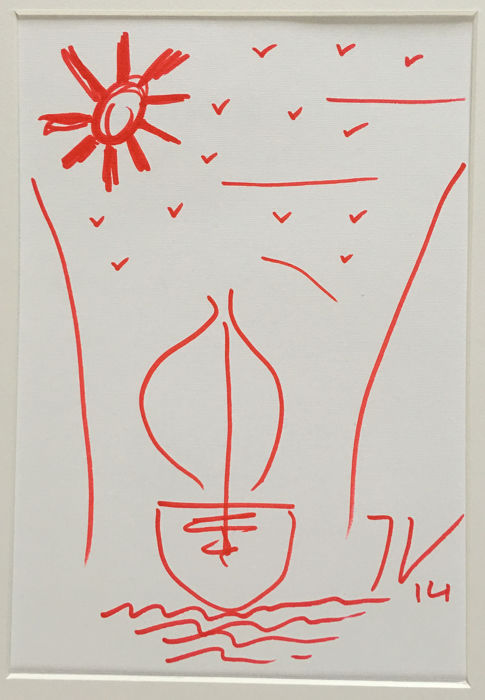 Jeff Koons - Sailboat drawing