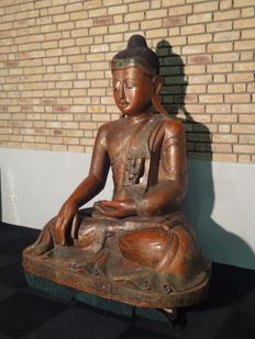 Large, wooden Buddha, style Mandalay (height 170 cm) - Birma - second half 20th century