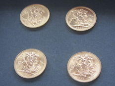 Great Britain – Lot of 4 x Sovereign – 1964/1966 – Elizabeth II – Gold