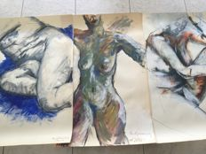 Original; Lot with 3 drawings of female nudes by Paul Groenenberg - 2009/2010