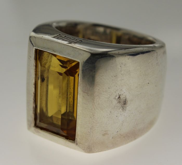 Silver JOOP! ring, inlaid with citrine, ring size 18, 46.2 grams