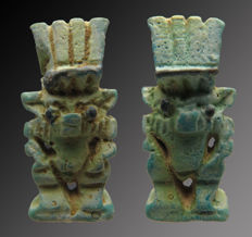 Egyptian faience amulet with double god Bes with a feathered crown - 34 mm