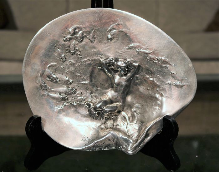 Auguste Ledru (1860-1902) - Art Nouveau silvered bronze vide poche with water nymph
